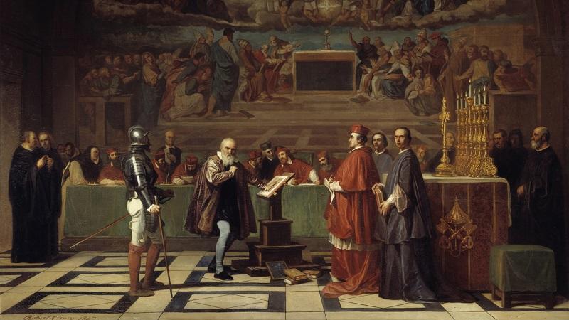伽利略在梵蒂冈的宗教法庭前